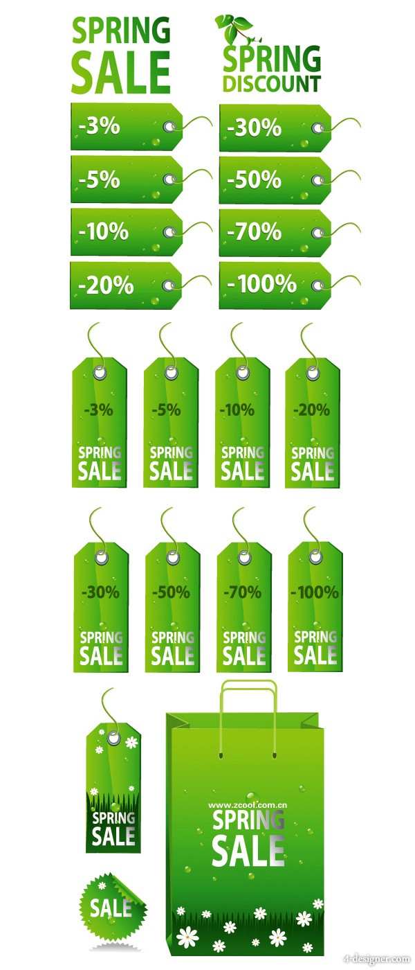 Green Spring Sales tag label vector material