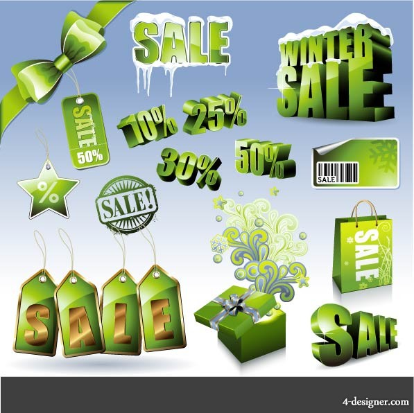 Green sales discount icon vector material