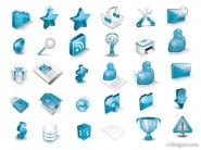 Icon   very beautiful blue three dimensional icon vector material