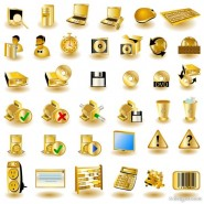 The golden common computer icon 01   vector material