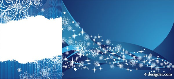 2 blue snowflake background, vector material