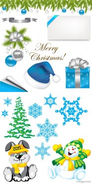 2 sets of Christmas element vector material