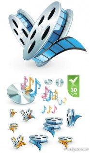 3D audio video icon vector material