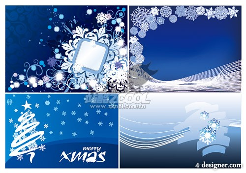 4 under Christmas snowflakes background vector material