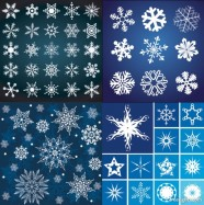 A variety of beautiful snowflake pattern vector material