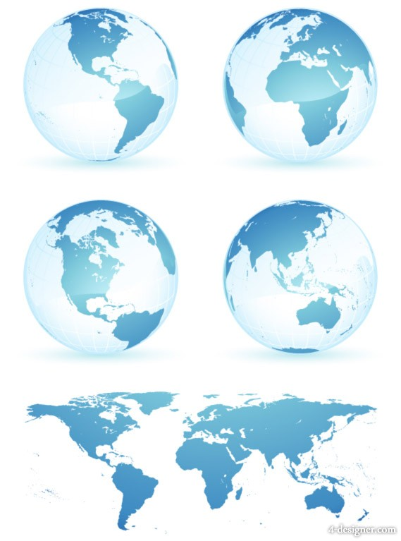 Blue Crystal Earth world map vector material