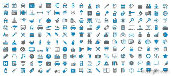 Blue and gray minimalist icon vector material