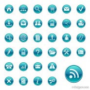 Blue circle the minimalist icon vector material