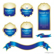 Blue tag ribbon vector material