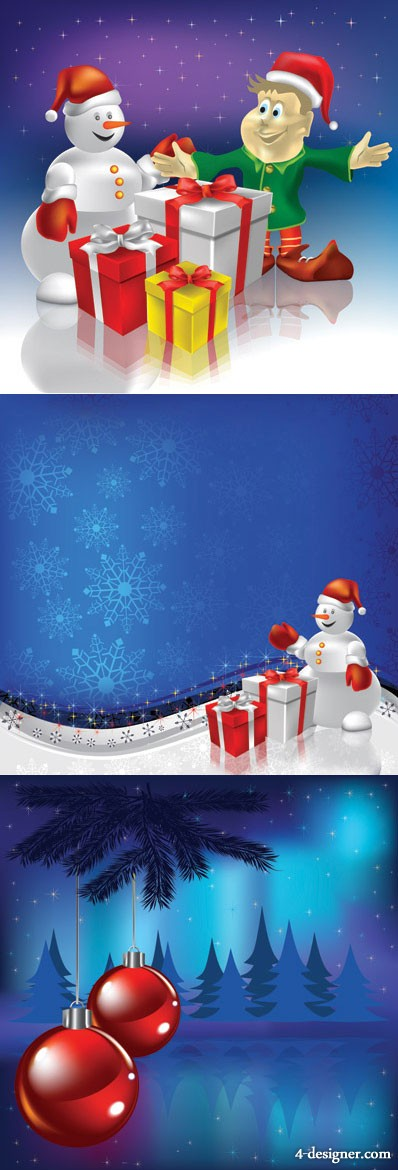 Christmas elements and the background vector material