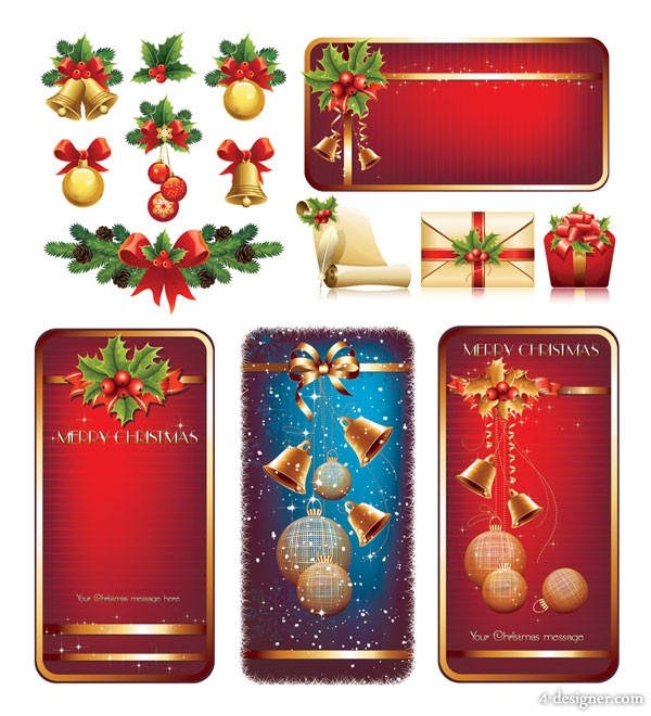 Christmas elements vector material high texture