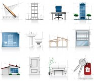 Interior Architecture sketch icons   vector material