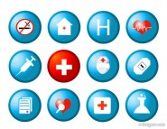 The circular medical health icon vector material