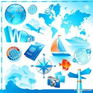 Travel tourism elements vector material  1