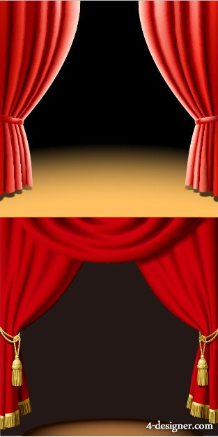 2 models beautiful curtain vector material