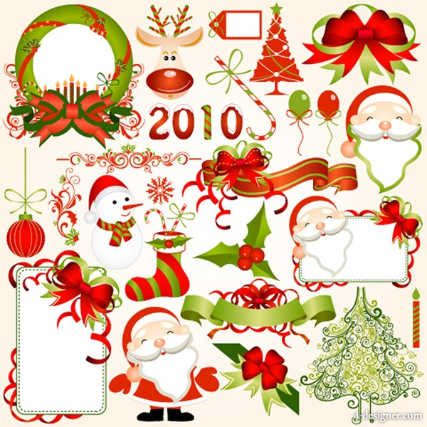 2010 Christmas element vector material