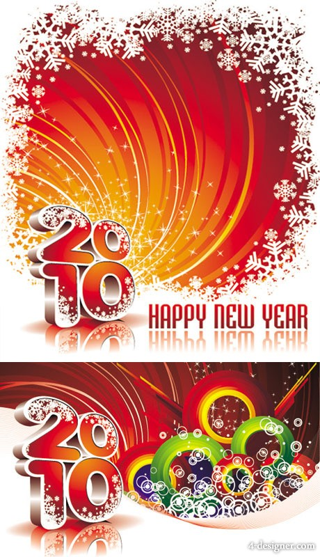 2010 New Year background vector material