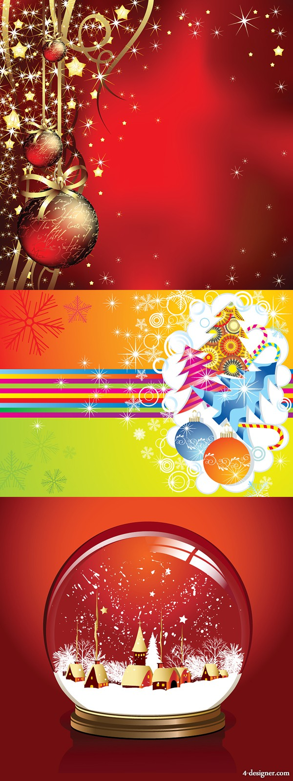 3 models beautiful Christmas Vector