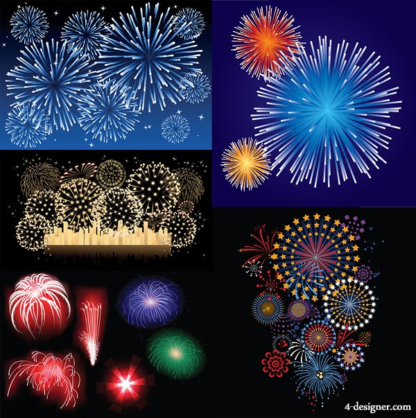 5 paragraph fireworks vector material