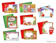 8 models cute Christmas greeting card vector material