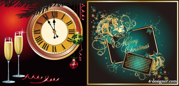 Champagne clock butterfly elements vector material
