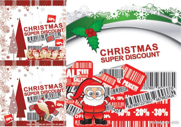 Christmas discount sales vector material