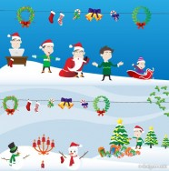 Cute Christmas elements and scenes vector material
