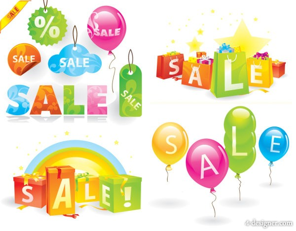 Cute shopping theme vector material