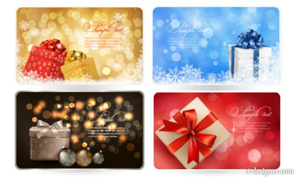 4 Designer Exquisite The Exquisite Christmas Gift Card Vector