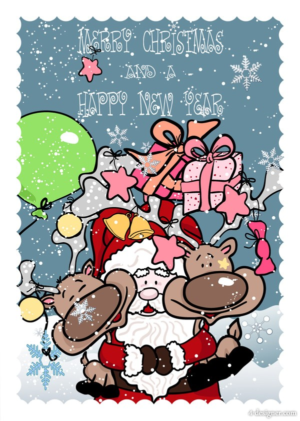 Funny Santa Claus with elk vector material