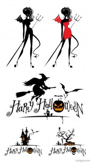 Halloween witch and graphics vector material