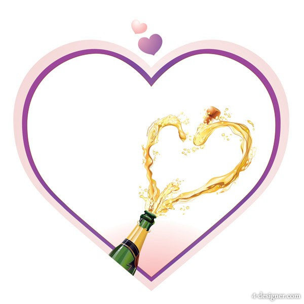 Heart shaped champagne vector material  2