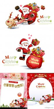 Lovely Christmas Snowman and Santa Claus 03 vector material
