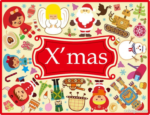 Lovely Christmas vector material