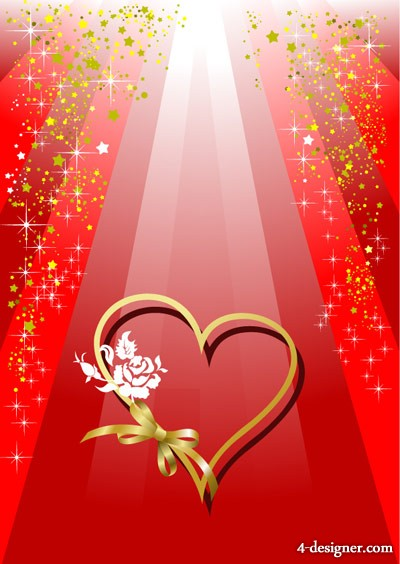 Of Valentine Ribbon heart shaped and colorful background vector material