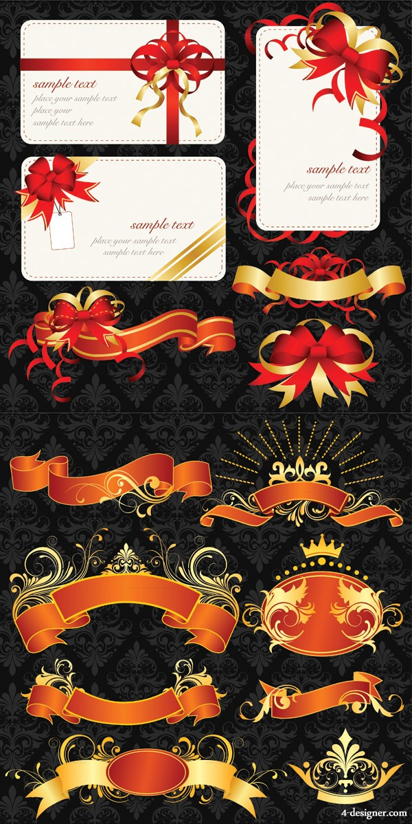 Ribbons and card vector material