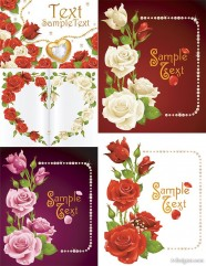 Romantic roses greeting cards vector material