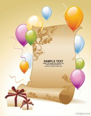 The balloon gift paper background Vector