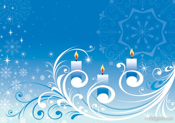 The snowflake candle pattern vector material