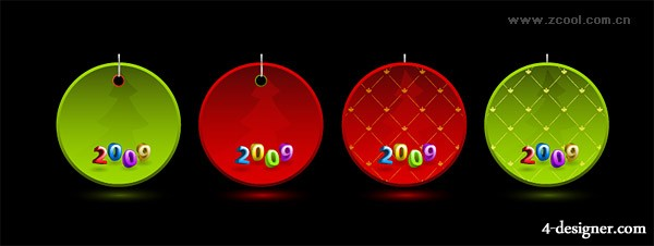 2009 Christmas tag vector material