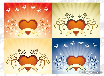 4 quarters heart shaped pattern vector material