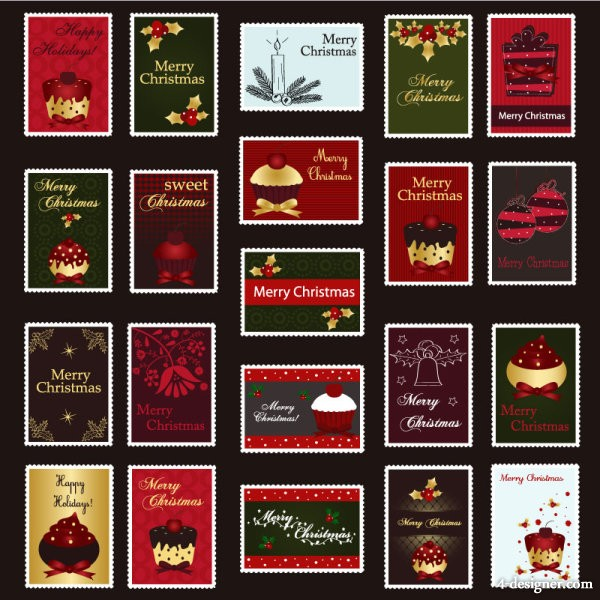 Christmas stamps vector material