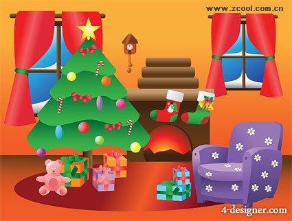 Cute indoor Christmas decoration vector material