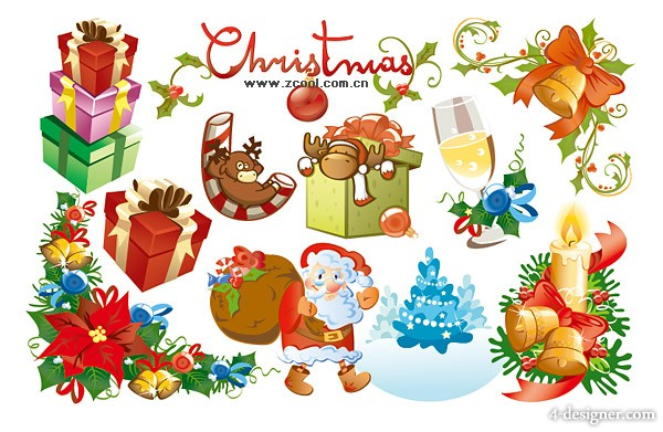 Exquisite lovely Christmas element vector material