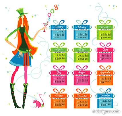 Gift of the year 2008 calendar vector material  1
