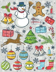 Hand painted lovely Christmas items vector material