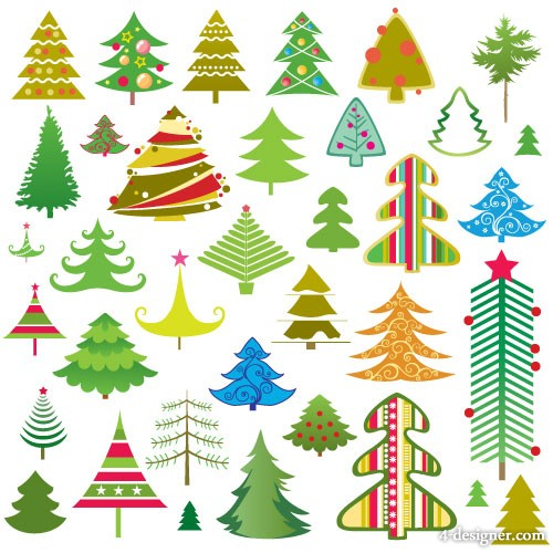 Lovely Christmas tree vector material
