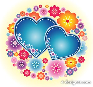 Lovely color heart shaped small flowers vector material