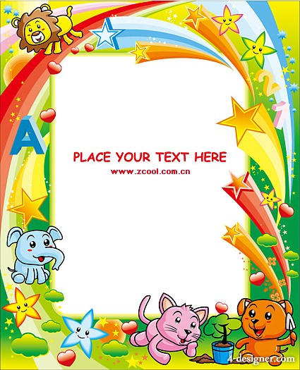 Lovely colorful animal picture frame vector