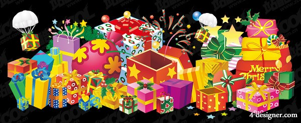 Mountains of gifts Vector
